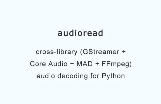 Audioread - cross-library audio decoding for Python