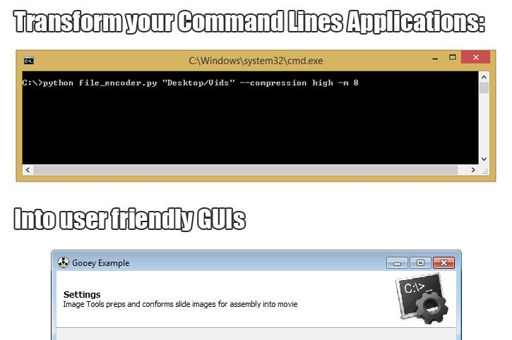 Gooey - Turn command line programs into a full GUI application with one line