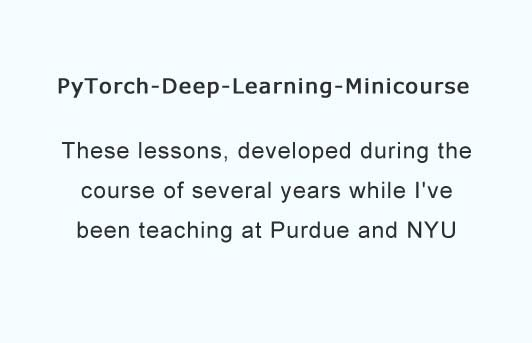 Minicourse in Deep Learning with PyTorch