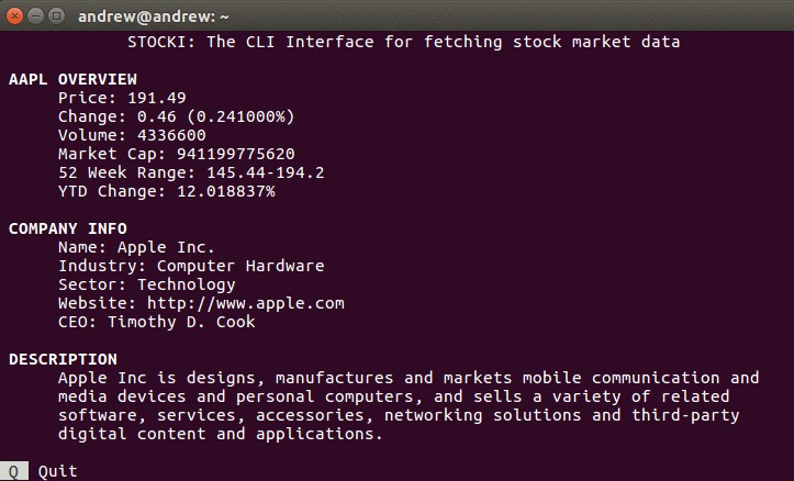 A CLI interface for fetching stock market data