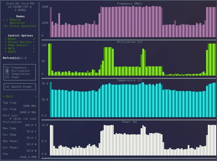 Terminal based CPU stress and monitoring utility