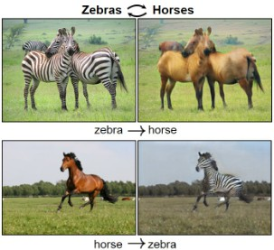 Software that can generate photos from paintings turn horses into zebras