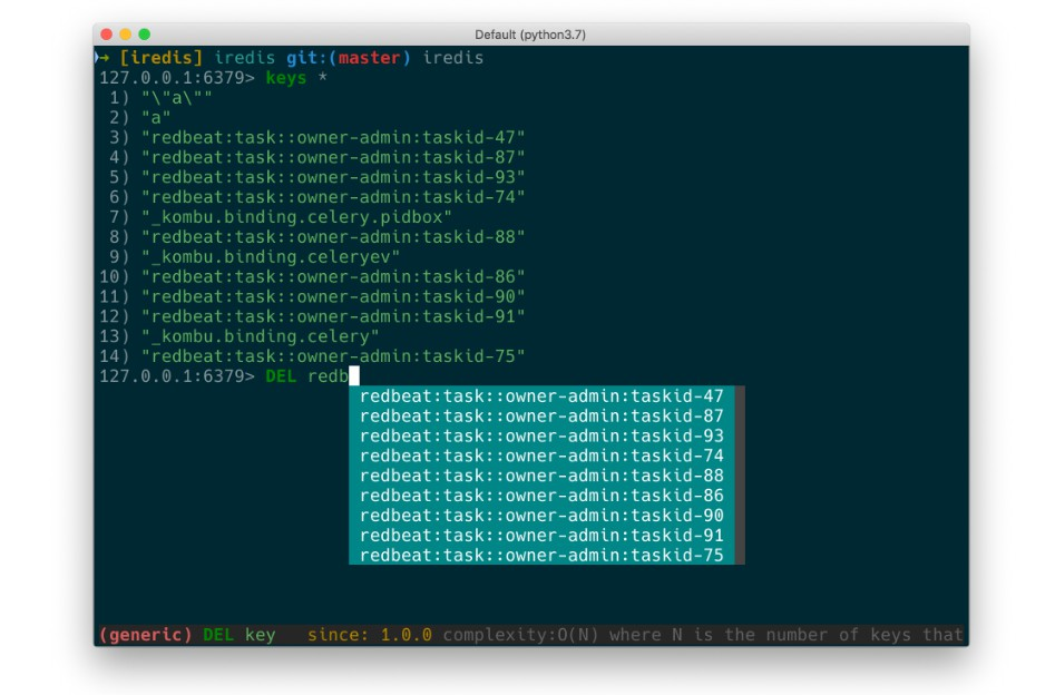 A Terminal Client for Redis with AutoCompletion and Syntax Highlighting