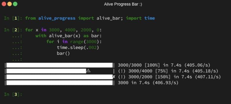 An animated and smart Progress Bar for python