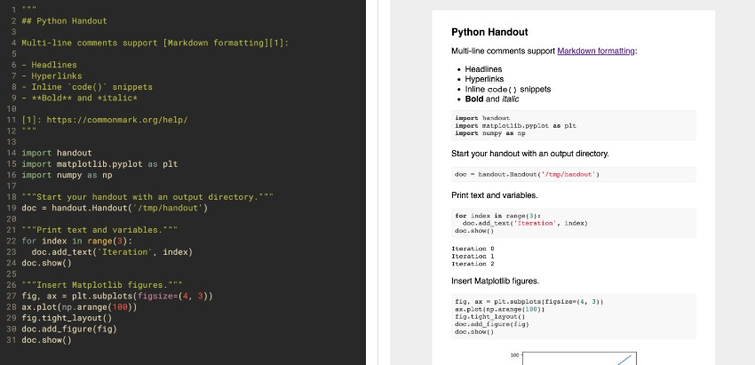 Turn Python scripts into handouts with Markdown and figures