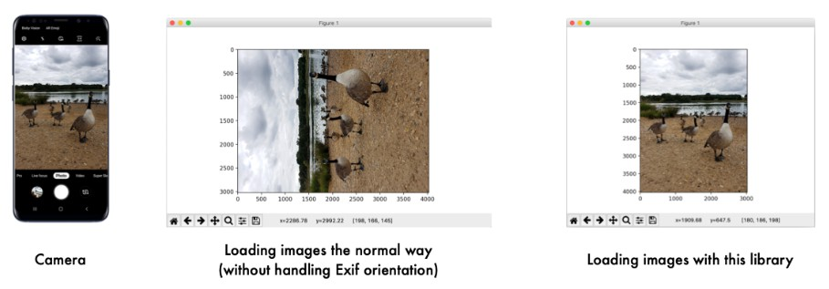 Load an image file into a numpy array with Exif orientation support